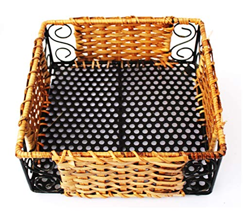 AKWAY Wooden Wicker Tray for Dining Table Serving Tray for Home and Kitchen Storage Tea Bed Tray, 7 inch x 7 inch x 2.5 inch, Black & Beige