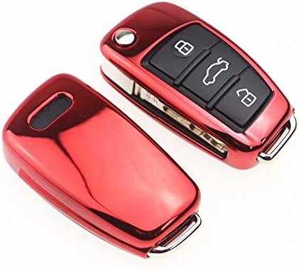 Fit For Audi 3 Button Key Cover A1 S1 A3 S3 RS3 A4 S4 RS4 A6 S6 RS6 Q2 Q3 Q7 TT TTS R8 Flip Case Remote Protector Red