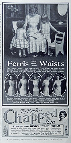 1913 Fashions, Print Ad. B&W Illustration (Ferris good sense corset waists) original Vintage Rare 1913 McCall's Magazine Art (1913 Print)