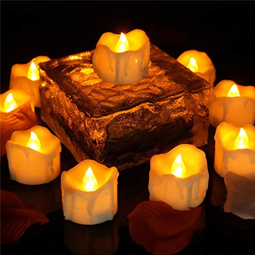 24pcs Flickering Flameless Candles with Timer, Amber Yellow Tealighs Luminara Led Battery Operated for Table Centre Wall Sconce Ornament Holiday Decorations