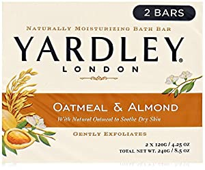 Yardley London Soap Bath Bar, Oatmeal and Almond, 8 Count
