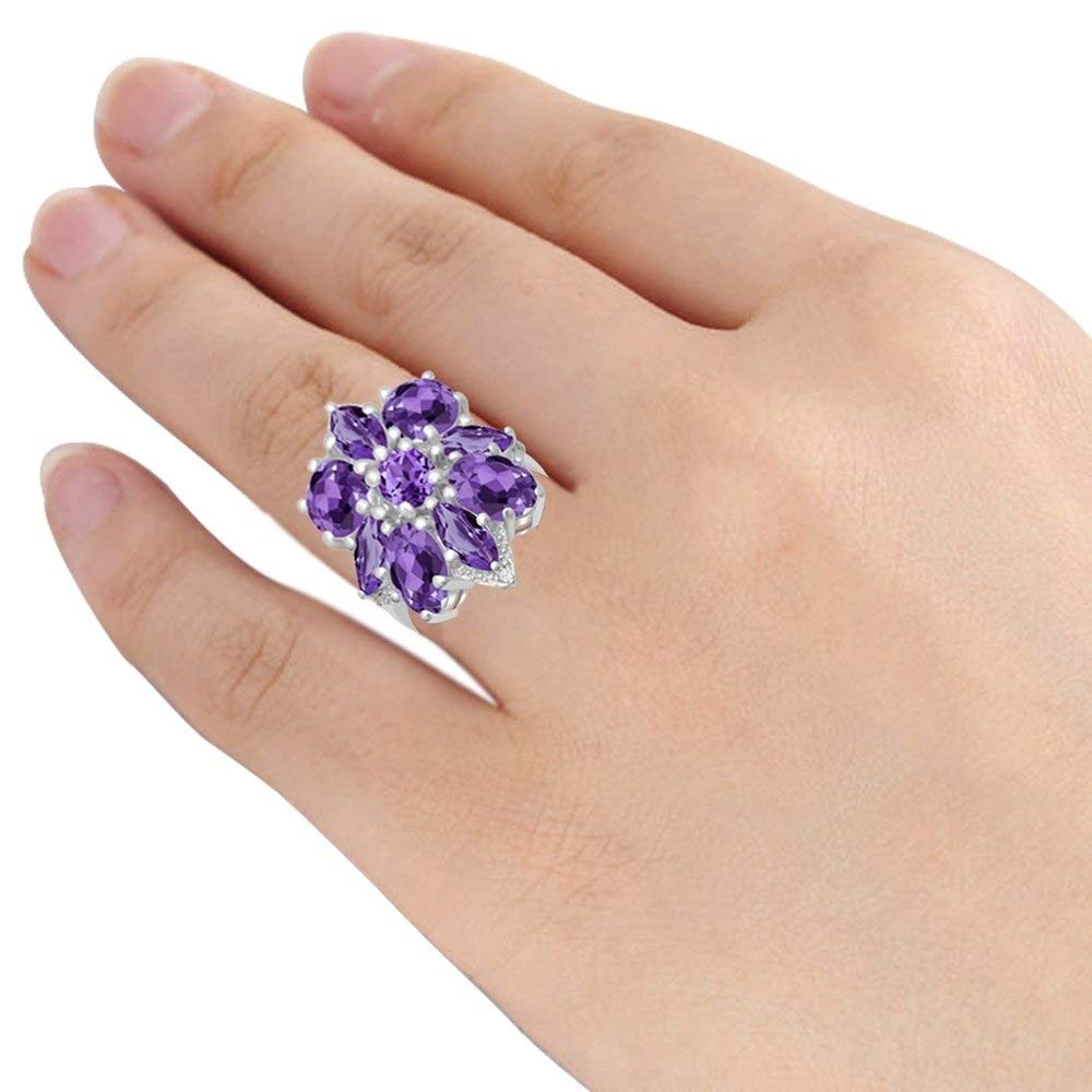 5.73 Ctw 7 Fashion Rings Size 6 Amethyst /& White Topaz Stone Rings For Women By Orchid Jewelry: Anniversary /& Promise Rings For Women /& Her 8 /& 9 Purple February Birthstone Wedding Jewelry