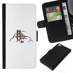 NEECELL GIFT forCITY // Billetera de cuero Caso Cubierta de protección Carcasa / Leather Wallet Case for HTC Desire 820 // Puente de San Francisco