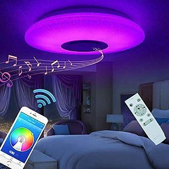 Oferta amazon: Plafón Lampara De Techo Altavoz Bluetooth 60w Led Luz De Techo Música Lámpara Colores Modernas Control Remoto APP Para Dormitorio Sala Cocina Comedor