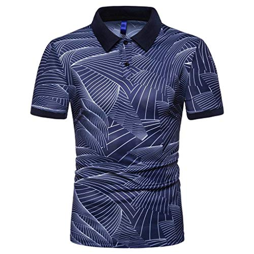 Striped Polo Shirts for Men,2019 Casual Regular-Fit Quick-Dry Golf Pique Polo T Shirt Short-Sleeve Jersey Henley by Leegor Navy