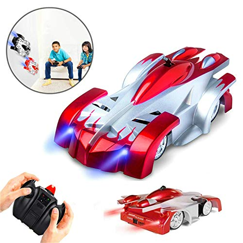 (Wall Climbing Remote Control Car Rechargeable,High Speed Gravity Defying RC Kids Toys Car Drives on Ceiling,Dual Mode 360°Rotating Stunt Vehicle with Head and Rear LED Lights Gifts for Boys Red. (Red))