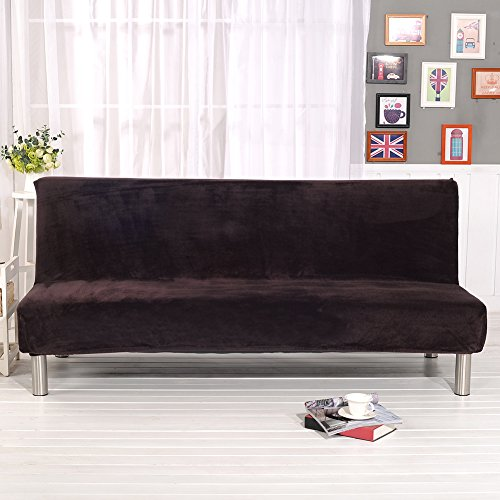(Younar Solid Color Armless Futon Sofa Bed Cover Full Size Thicker Plush Sofa Cover Protector Sofa Slipcover (Coffee))
