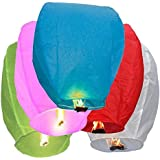 Chinese Flying Sky Lanterns 20 Pack Assorted Colors, Wish Paper Lanterns- for Festivals, Weddings, Backyard Parties