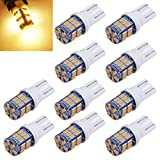 Aucan Super Bright 194 921 168 2825 W5W T10 Wedge 30-SMD 3014 Chipsets LED Replacement Bulbs for 12V Car Interior Dome Map Door Courtesy Trunk License Plate Lights Warm White (pack of 10)