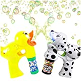 Bubble Blaster Duck & Dalmatian Set with Lights and Sound, by ArtCreativity Includes a Duck Bubble Gun, Dalmatian Bubble Gun & 4 Bottles of Solution, Great Gift for Kids (Batteries Included)