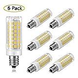 E12 LED Bulb Dimmable 7W Equivalent to E12 Halogen Bulb 60W, Daylight White 6000K T3/T4 Base E12 Candelabra Bulbs for Ceiling Fan, Chandelier, Indoor Decorative Lighting, AC 110V/120V/130V (6 Pack)