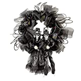 Collections Etc. Scary Couple Halloween Wreath with Black Mesh, Silver Accents and Skeleton Couple