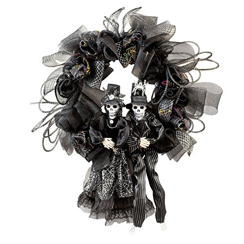 Collections Etc. Scary Couple Halloween Wreath with Black Mesh, Silver Accents and Skeleton -