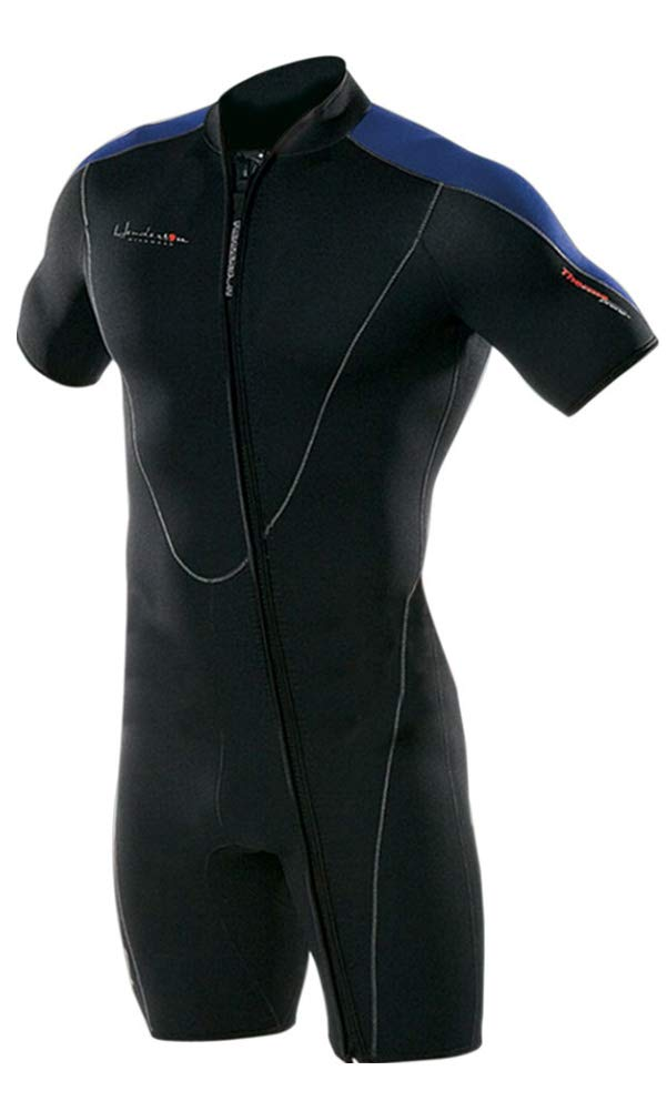 Henderson Thermoprene Men's 3mm Shorty Wetsuit Springsuit Front Zip, Black/Blue, XX-Large by Henderson