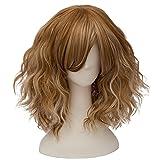 TOPMAX Fashion Mixed Blonde Short Wavy Lolita Women's Cosplay Wig Heat Resistant, 14'' L, Light Brown