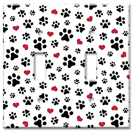 - Art Plates 2 Gang Toggle Wall Plate - Dog Paws and Hearts Toss