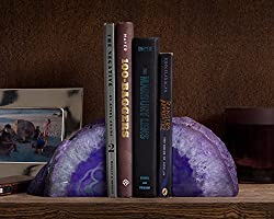 Geode Agate Book Ends for Office D/écor and Home Decorative Bookends Purple