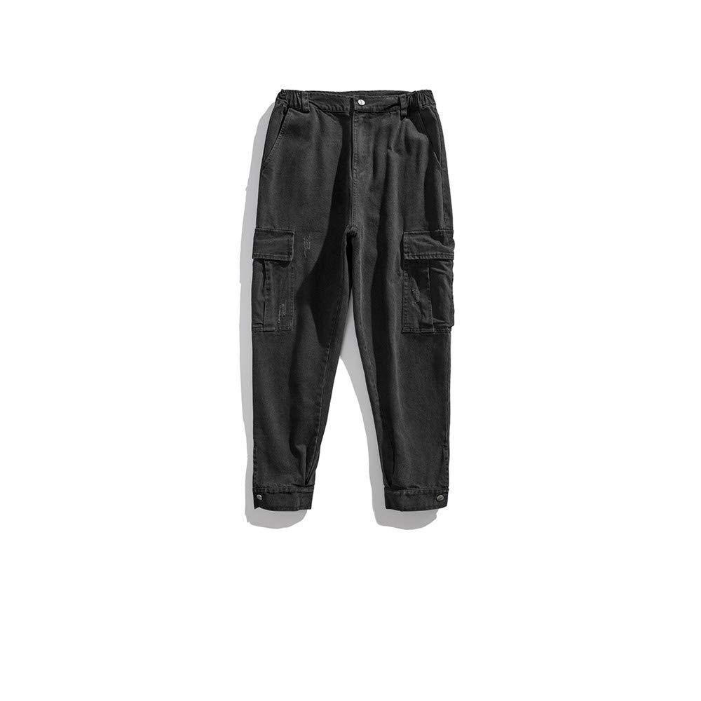 EVEORSSRA Jeanshosen Herbst Street Relax Retro Wash Machen alte große Tasche Arbeitskleidung Jeans Tide Boy Haren Shorts