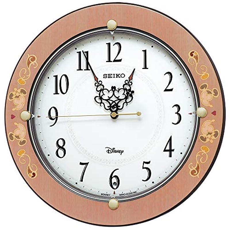 세이코 clock(Seiko Clock) 벽시계 핑크 당초무늬무늬 광택 직경32.5×4.8cm 미키마우스 미니 마우스 전파 아날로그 어른 디즈니 FS511P