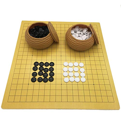 GoodPlay Go Chess Game Set Leather Chessboard with Plastic Stones in Imitation Straw Cans Travel Games for Go Chess Players (18.9 x 19.3 Inches)