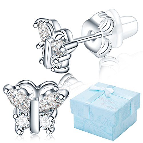 - Buyless Fashion Surgical Steel Rhodium Plated Butterfly Shape Cubic Zirconia Birthstone Earrings-April Butterfly