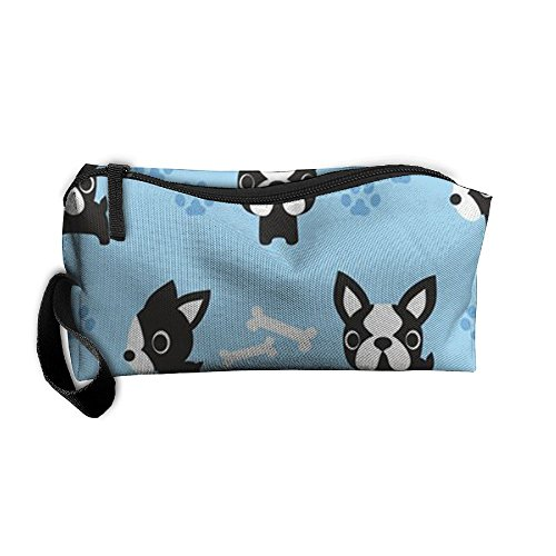 - King Fong Boston Terrier Dog Makeup Bags for Men/Women, Travel Toiletry Bag, Oxford Pencil Case