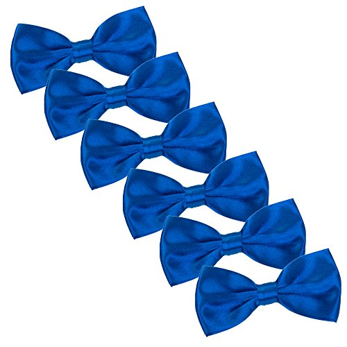 Men's Bow Tie for Wedding Party - 6 Pack of Solid Color Adjustable Pre Tied Bowties(Royal Blue)