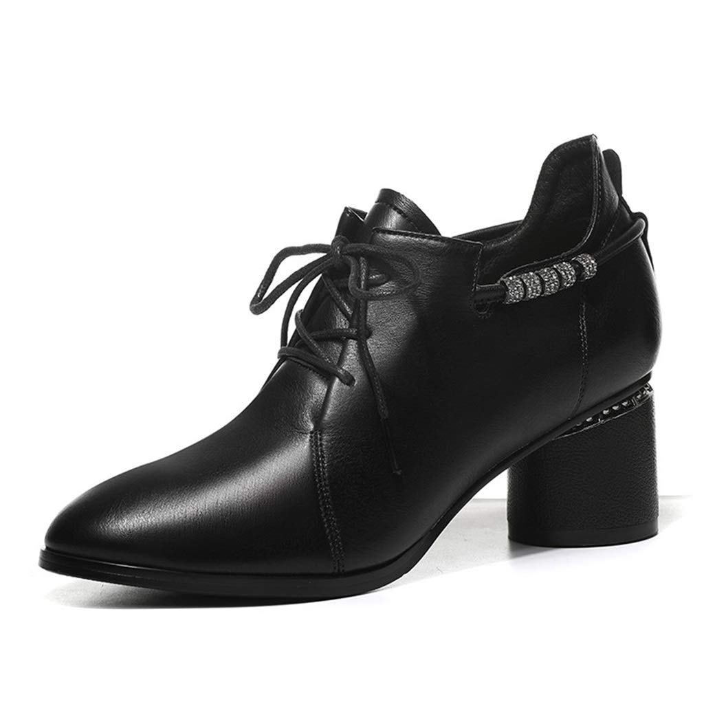 BLACK Single shoes Female Thick with Pointed British Wind with Women's shoes Deep Mouth Single shoes with Women's Small shoes Women's Work shoes (color   Black, Size   35)