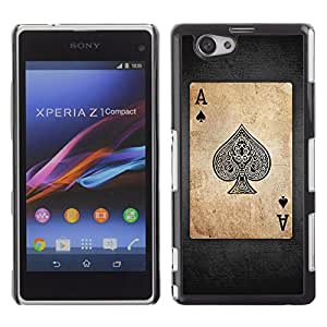 CaseLord Carcasa Funda Case - Sony Xperia Z1 Compact / Vintage Playing Cards Ace /