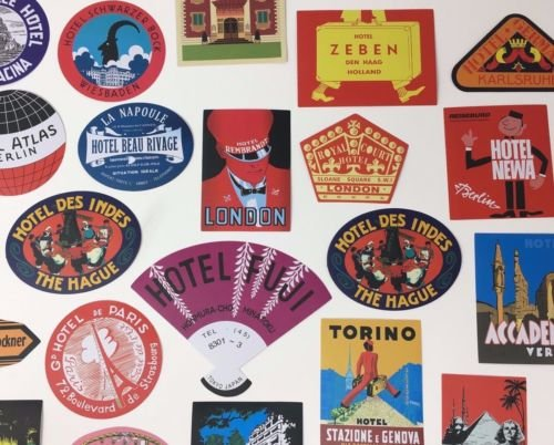 25 Different Reproduction Hotel Luggage Labels (Travel Decals Stickers) Retro Vintage