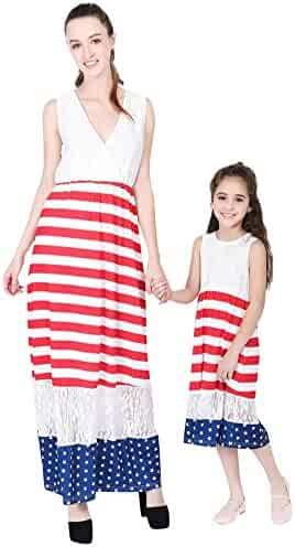 90ee3db6d76 4th of July Family Outfits,SMALLE◕‿◕ Mom&Me Baby Girls Kids American Flag