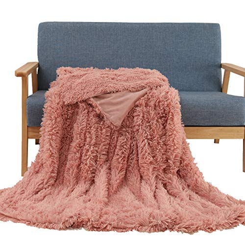 Soffte Cloud Super Soft Long Shaggy Warm Plush Fannel Blanket Throw Qulit Cozy Couch Blanket for Winter Dirty Pink(51