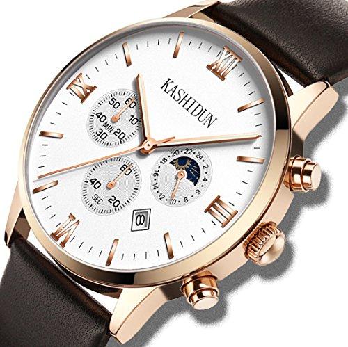 Chronograph White Gold Watch - KASHIDUN Men's Watches & Women's Watch Luxury Quartz Wristwatches Waterproof Chronograph Calendar Date White
