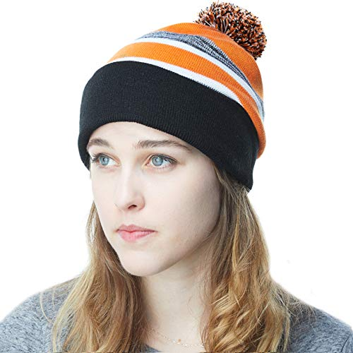 - THE HAT DEPOT Winter Soft Unisex Pom Pom Stripe Knit Beanie Skull Slouch Hat (Black-Orange)