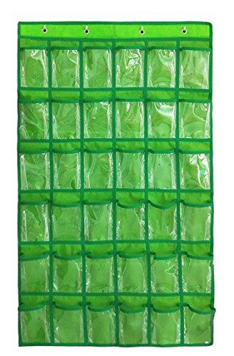 NIMES Hanging Closet Underwear Sock Storage Over The Door Jewelry Organizer 36 Clear Pockets (GREEN)