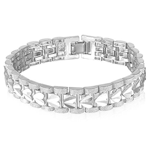 U7 Mens Platinum Plated Heart Engraving Wrist Chain Link Bracelet 21CM ()
