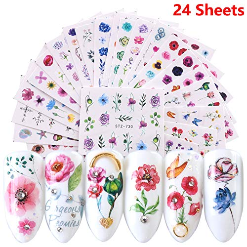 Nail Art Stickers Supplies Nail Decals for Women 24 Sheets Water Transfer Nail Tattoo Stickers Rose Flower Cactus Leaf Summer Series Design Manicure Tips Acrylic Nail Art Decorations Accessories
