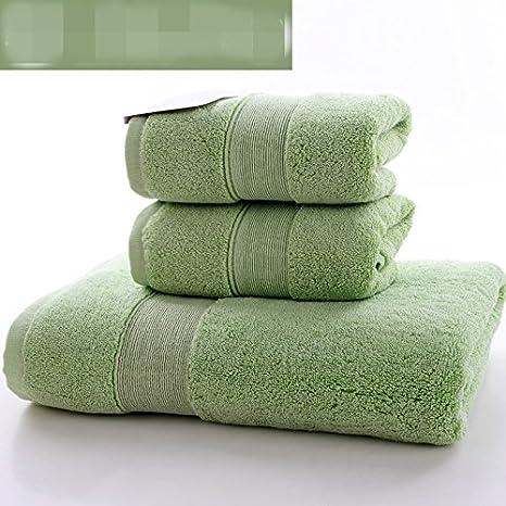Toalla de baño de algodón conjunto de adultos hombres suaves y mujeres lavado toalla conjunto (1 toalla de baño + 2 toallas=3 piezas), D: Amazon.es: Hogar