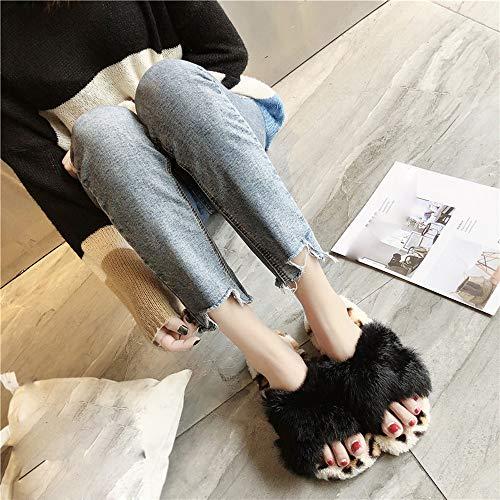 Rond Plates Bout 2018 Imprimé Pour Hiver Femme Maintien Chaud Chic Léopard Chaussures Hiver Nouveau À Automne Chaussure Au Noir Femme 0n4Pp47