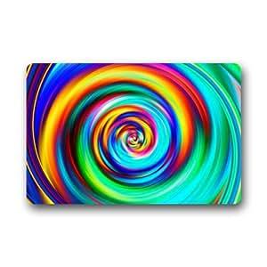 """Colorful Psychedelic Trippy Swirl Art Non-woven Fabric Door Mat Indoor/Outdoor/Bathroom Doormat Rugs for Home/Office/Bedroom 23.6""""(L) x 15.7""""(W)"""