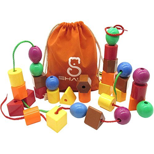 Developing Fine Motor Skills - SHAWE 30 Jumbo Lacing Beads,Stringing Bead Set for Toddlers,Include 4 Strings, Carrying Nice Bag - Montessori Toys for Fine Motor Skills Autism OT