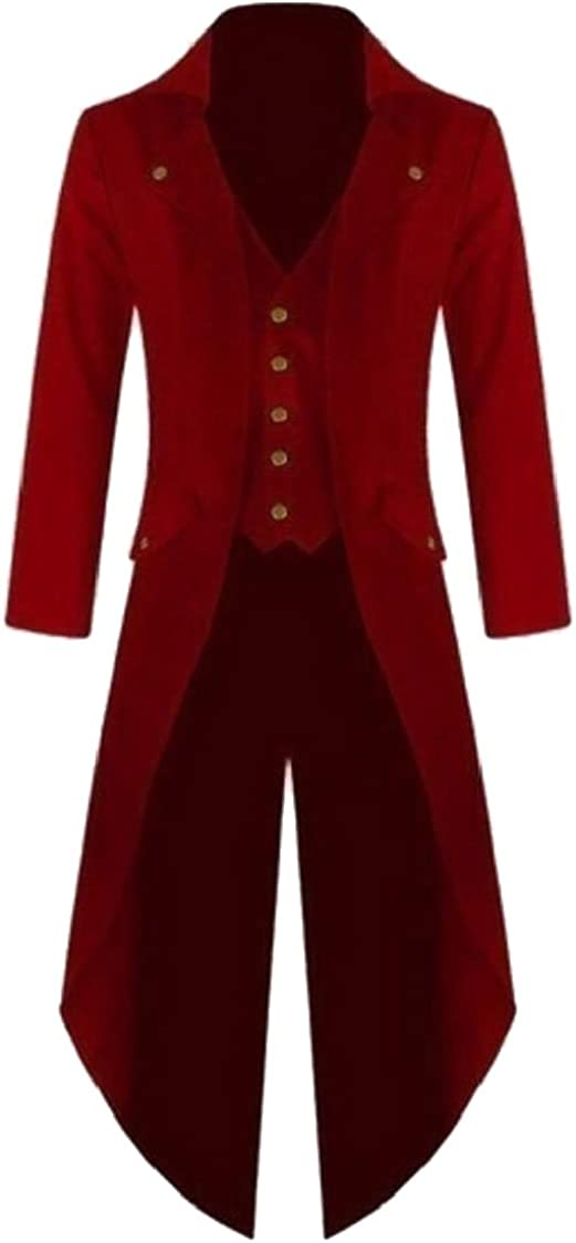 Jaycargogo Mens Gothic Tailcoat Jacket Steampunk High Collar Coat Red XL