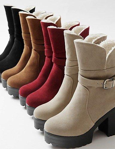 5 Beige Zapatos Botas La Punta Vestido Yellow A us6 us10 Vellón Redonda Robusto Xzz Black De Rojo Eu42 Cn36 Negro Amarillo Tacón Eu Uk4 Mujer Uk8 Moda Cn43 5 Eu36 Casual Twz0gdq