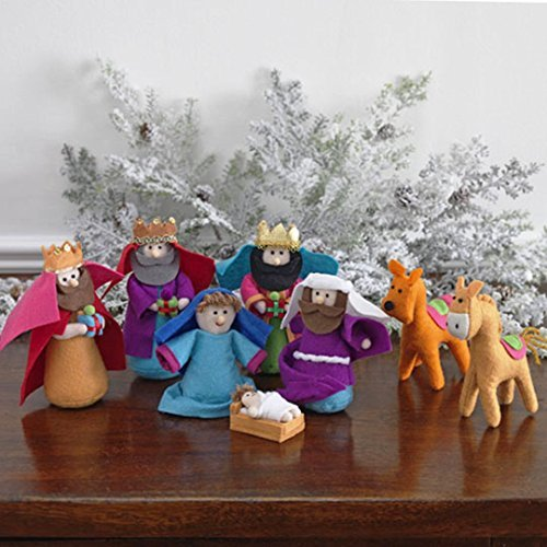Fabric Nativity 6 Piece (8-piece Set, Fabric Christmas Nativity Set with Wise Men & Animals, 6 Inches Tall by Betsey)