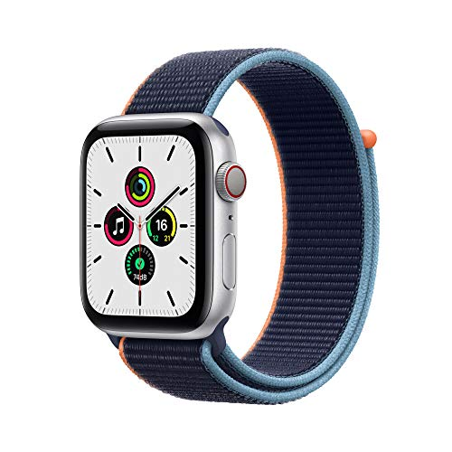 Nuevo Apple Watch SE (GPS + Cellular, 44 mm) Caja de aluminio en plata- Correa Loop deportiva azul marino intenso