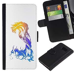 Samsung Galaxy S6 / SM-G920 , la tarjeta de Crédito Slots PU Funda de cuero Monedero caso cubierta de piel ( Waves Mermaid Woman Art Goddess Watercolor)