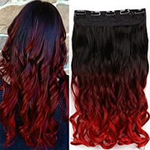 Neverland Beauty 20 inches Curly Wave One Piece Clip in Ombre Hair Extensions Hairpiece for Women 5 Clips (Brown Black to Dark Red to Red)