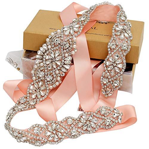 (Yanstar Blush Bridal Sashes Handmade Silver Crystal Beads Wedding Belt For Bridal Gowns)