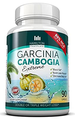 80% HCA EXTREME GARCINIA CAMBOGIA - 100% Pure Extract - All Natural Formula - 90 Count Quality Veggie Capsules by Hamilton Healthcare
