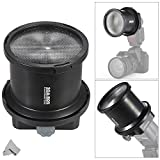 Fomito SGA-BOS Fresnel Snoot Flash Light Extender with Flash Adapter Mount for Speedllight Canon Nikon Sony Yongnuo Neweer Godox Vivitar Flash & 10pcs Color Filters